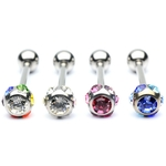 Barbell / Tongue Ring with Multiple Colored Gems image