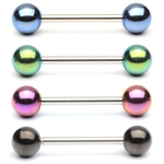 Barbell / Tongue Ring with Anodized Titanium Balls image