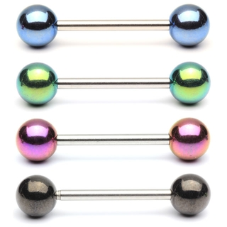 Barbell / Tongue Ring with Anodized Titanium Balls