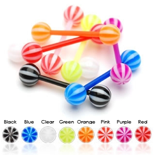 Candy Stripe Flexible UV Barbell / Tongue Ring