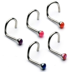 Colored Glitter Dome Nose Ring / Stud image