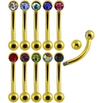 Gold Crystal Gem Eyebrow Ring image