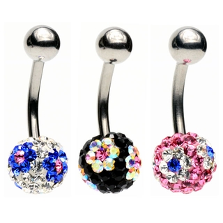Crystal Flower Gem Belly Ring