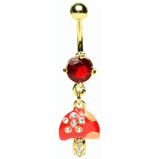 Mushroom Belly Ring with Gems