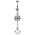 Anchor Belly Ring - Silver Dangling image