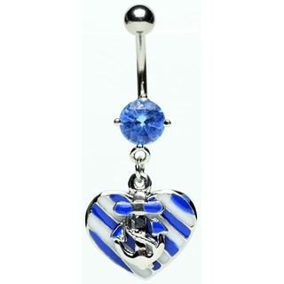 Sailing Heart Anchor Belly Ring