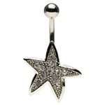 Paved Gem Starfish Belly Button Ring image