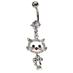 Fancy Cat Dangling Belly Ring image