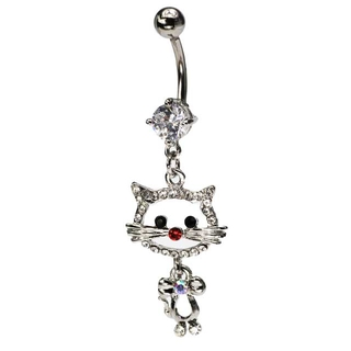 Fancy Cat Dangling Belly Ring