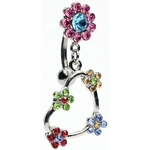 Flower Heart Top-Down Dangle Belly Ring image