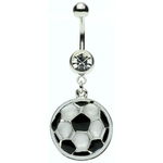 Dangling Soccer Ball Belly Ring image