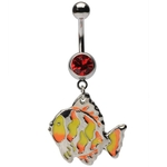 Tiffany Glass Fish Belly Button Ring image