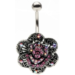 Antique Flower Hinged Belly Ring image