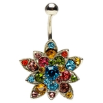 Petal Flower Hinged Belly Ring image