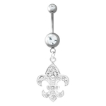 Dangling Fleur De Lis Belly Ring with Crystals image