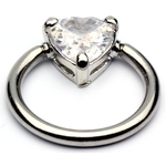 Captive Bead Ring with Crystal Heart image