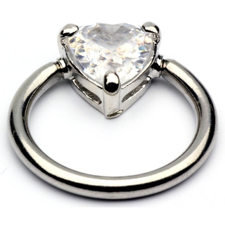 Captive Bead Ring with Crystal Heart
