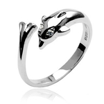 Sterling Silver Toe Ring with Swimming Dolphin image