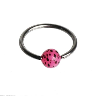 Pink Leopard Captive Bead Ring