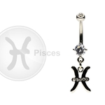 Pisces Zodiac CZ Belly Ring image