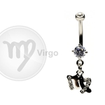 Virgo Zodiac CZ Belly Ring image