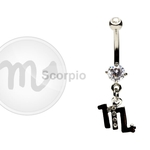 Scorpio Zodiac CZ Belly Ring image