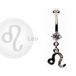 Leo Zodiac CZ Belly Ring image