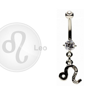 Leo Zodiac CZ Belly Ring