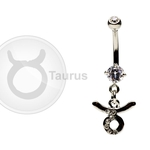 Taurus Zodiac CZ Belly Ring image