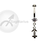 Sagittarius Zodiac CZ Belly Ring image