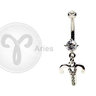 Aries Zodiac CZ Belly Ring