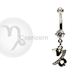 Capricorn Zodiac CZ Belly Ring image