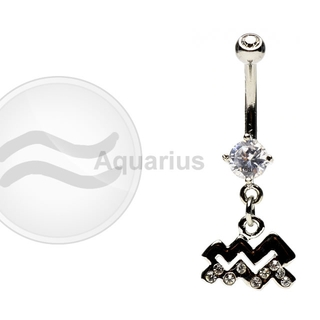 Aquarius Zodiac CZ Belly Ring