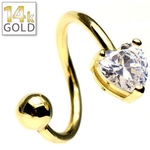 14 Kt Yellow Gold Heart Twist Belly Ring image