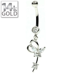 White Gold Heart w/ Butterfly Belly Ring image
