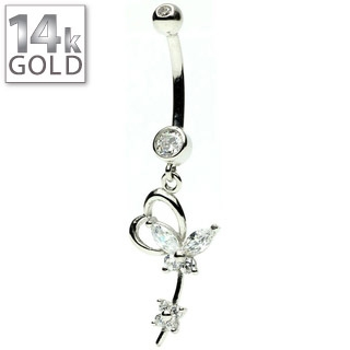 White Gold Heart w/ Butterfly Belly Ring