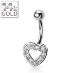 White Gold Gemmed Heart Belly Ring image