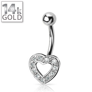 White Gold Gemmed Heart Belly Ring