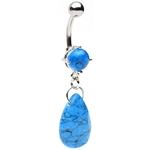 Precious Turquoise Stone Dangling Belly Ring image