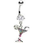 Multi-Colored Gemmed Dangling Martini Belly Ring image