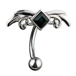 Top Down Hinged Tribal w/Black Gem Belly Ring image