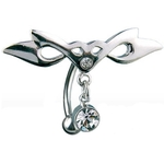 Top Down Hinged Tribal w/Gem Dangle Belly Ring image