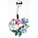 Heart Flower Butterfly Belly Ring image
