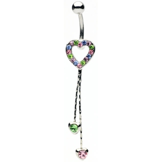 Multi-Colored Heart Dangle Belly Ring