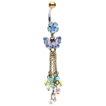 Vintage Flower w/Butterfly and Beads Dangling Belly Ring image
