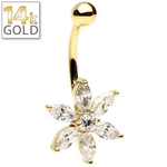 14Kt Yellow Gold Petal Flower Belly Ring image