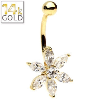 14Kt Yellow Gold Petal Flower Belly Ring
