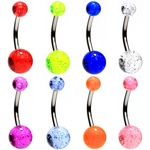 8 Pack Glitter Ball Belly Rings image