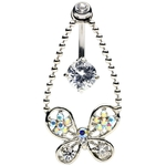 Crystal Butterfly Reverse Belly Ring image