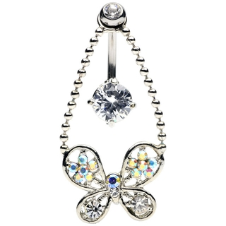 Crystal Butterfly Reverse Belly Ring